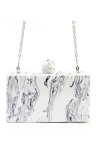 Valyn Marbled Clutch with a Snap Closure