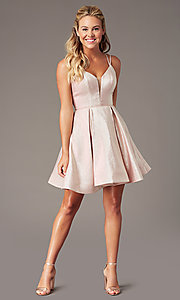 Image of short glitter-knit v-neck homecoming party dress. Style: TE-PL-4076 Detail Image 1