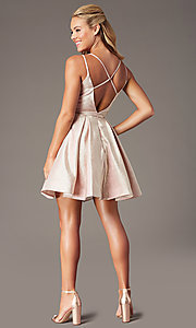 Image of short glitter-knit v-neck homecoming party dress. Style: TE-PL-4076 Back Image