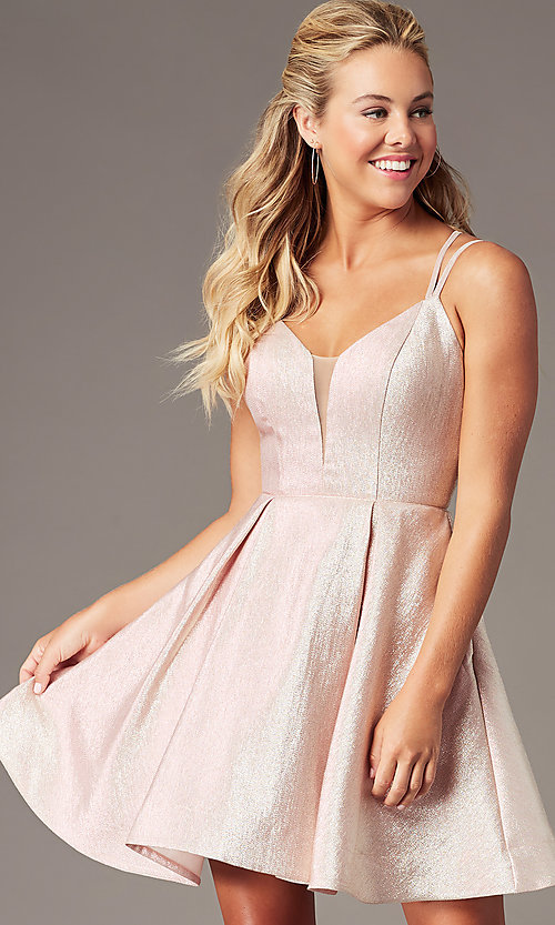 Image of short glitter-knit v-neck homecoming party dress. Style: TE-PL-4076 Front Image