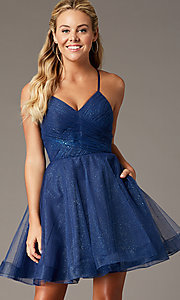 Image of glitter-mesh navy open-back homecoming party dress. Style: TE-PL-4059 Front Image