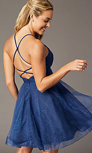 Image of glitter-mesh navy open-back homecoming party dress. Style: TE-PL-4059 Back Image