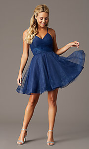 Image of glitter-mesh navy open-back homecoming party dress. Style: TE-PL-4059 Detail Image 1