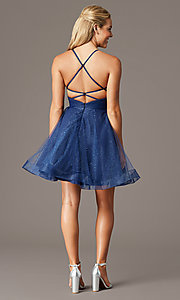 Image of glitter-mesh navy open-back homecoming party dress. Style: TE-PL-4059 Detail Image 2