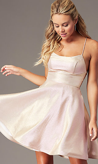 Homecoming Scoop-Neck A-Line Open Back Dress