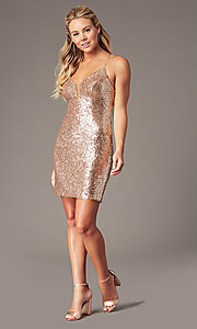 Image of corset open-back short sequin homecoming dress. Style: TE-PL-4053 Back Image