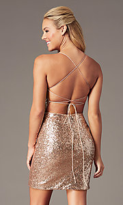 Image of corset open-back short sequin homecoming dress. Style: TE-PL-4053 Front Image