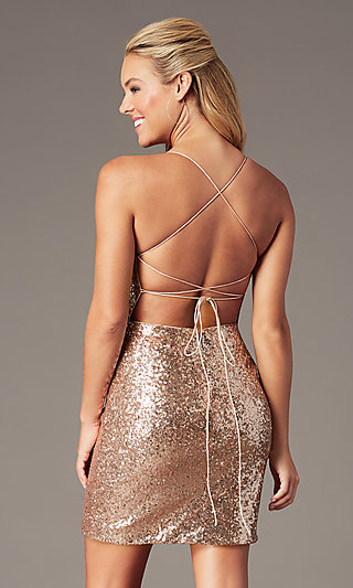 Short Corset Rose Gold Sequin Homecoming Dress