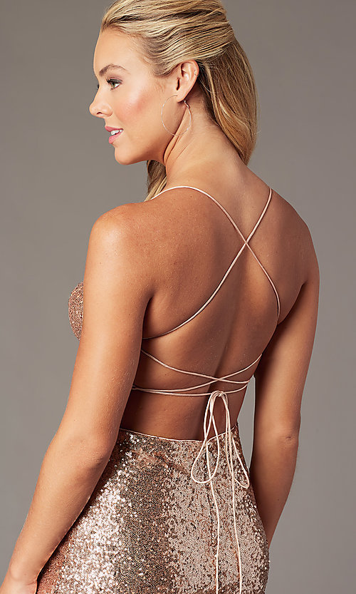 Image of corset open-back short sequin homecoming dress. Style: TE-PL-4053 Detail Image 2