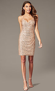 Image of rose gold short formal sequin hoco dress. Style: TE-PL-4086 Front Image