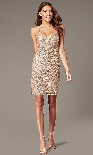 Rose Gold Short Formal Sequin Hoco Dress