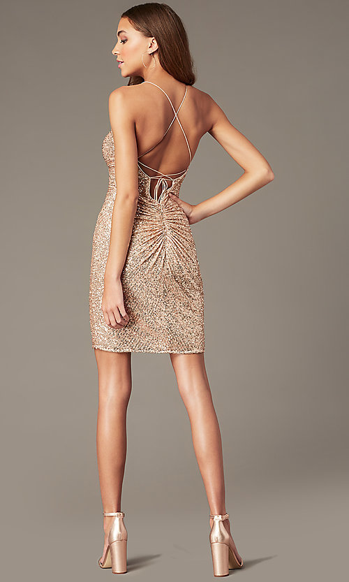 Image of rose gold short formal sequin hoco dress. Style: TE-PL-4086 Back Image