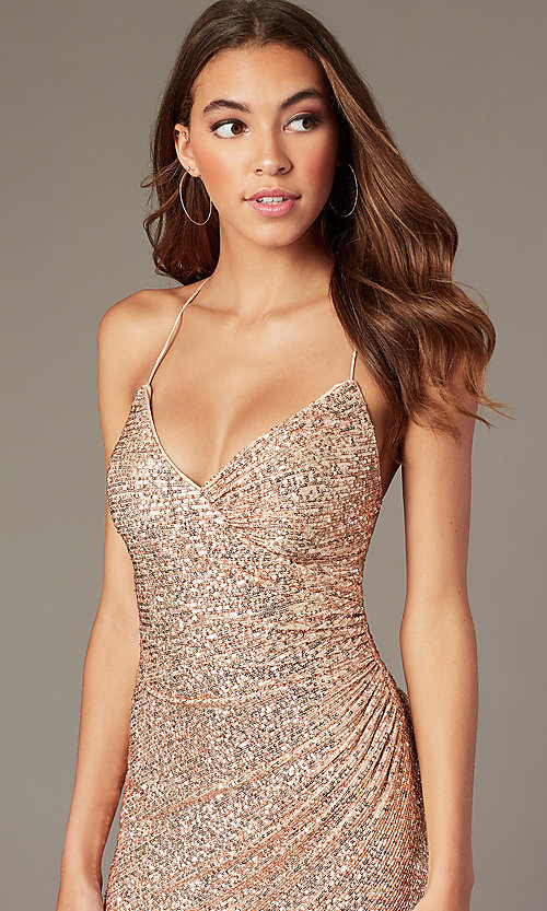 Image of rose gold short formal sequin hoco dress. Style: TE-PL-4086 Detail Image 1