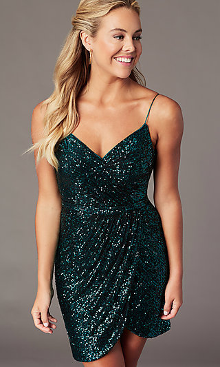 Homecoming Short Sequin Cocktail Party Dress