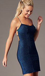 Image of backless short formal glitter homecoming dress. Style: TE-PL-4060 Detail Image 1