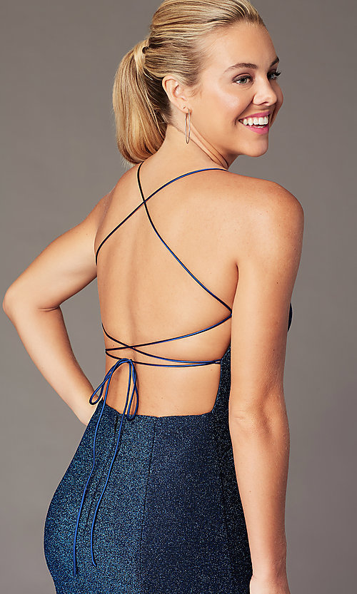 Image of backless short formal glitter homecoming dress. Style: TE-PL-4060 Detail Image 2