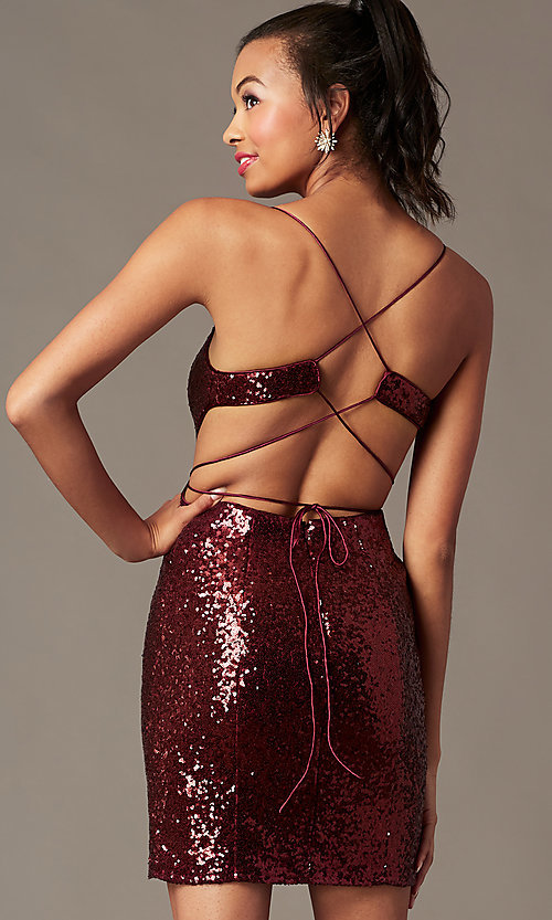 Image of corset-back short sequin holiday party dress. Style: TE-4128 Back Image