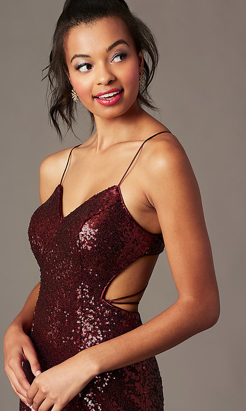 Image of corset-back short sequin holiday party dress. Style: TE-4128 Detail Image 2