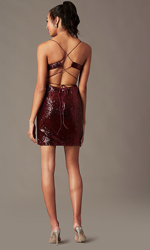 Image of corset-back short sequin holiday party dress. Style: TE-4128 Detail Image 3