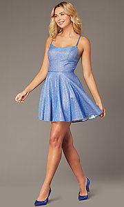 Image of short metallic royal blue homecoming party dress. Style: DJ-A7979 Detail Image 1
