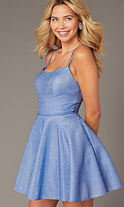 Image of short metallic royal blue homecoming party dress. Style: DJ-A7979 Front Image