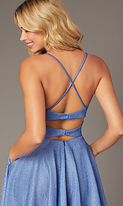 Image of short metallic royal blue homecoming party dress. Style: DJ-A7979 Detail Image 2