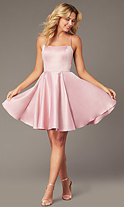 Image of faux-wrap short homecoming dress with corset back. Style: DJ-A8089 Front Image