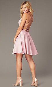 Image of faux-wrap short homecoming dress with corset back. Style: DJ-A8089 Back Image