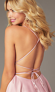 Image of faux-wrap short homecoming dress with corset back. Style: DJ-A8089 Detail Image 2