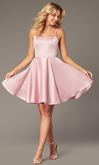 Faux-Wrap Short Homecoming Dress with Corset Back