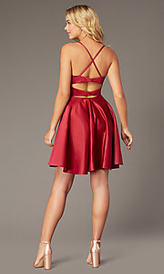 Image of Dave and Johnny short red satin homecoming dress. Style: DJ-A8220 Back Image