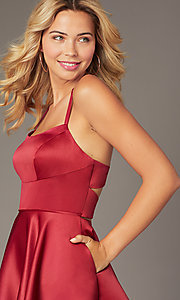 Image of Dave and Johnny short red satin homecoming dress. Style: DJ-A8220 Detail Image 1
