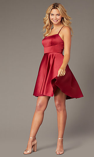 Dave and Johnny Short Red Satin Homecoming Dress