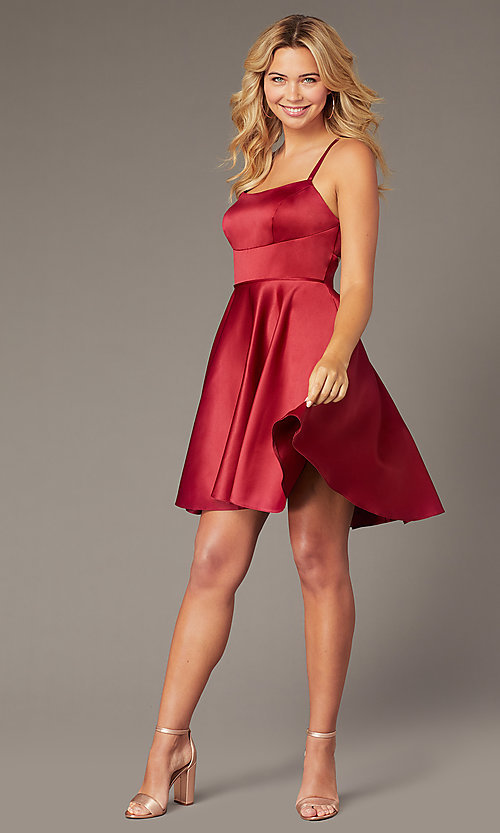 Image of Dave and Johnny short red satin homecoming dress. Style: DJ-A8220 Front Image