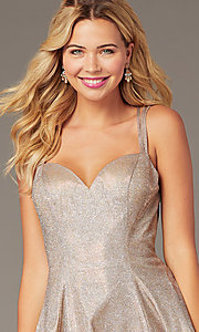 Image of open-back short rose gold glitter homecoming dress. Style: DJ-A8224 Detail Image 2