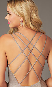 Image of open-back short rose gold glitter homecoming dress. Style: DJ-A8224 Detail Image 3