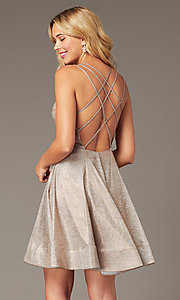 Image of open-back short rose gold glitter homecoming dress. Style: DJ-A8224 Front Image