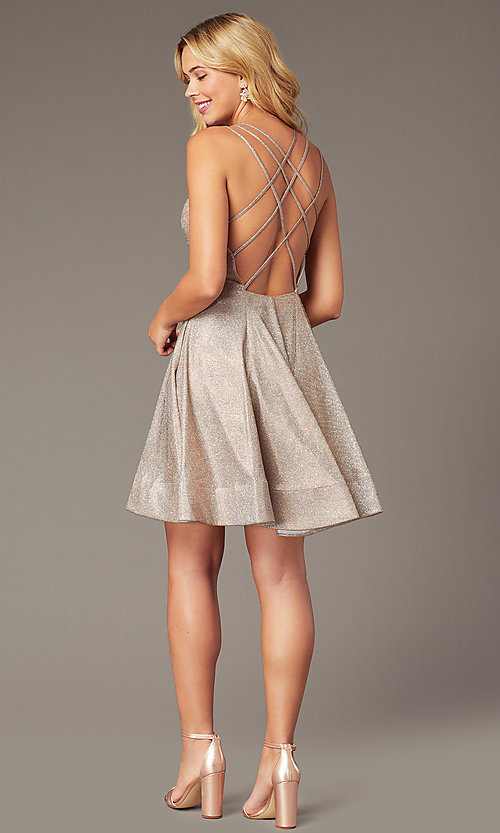 Image of open-back short rose gold glitter homecoming dress. Style: DJ-A8224 Detail Image 1