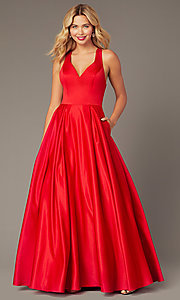 Image of red satin formal long dress by Dave and Johnny. Style: DJ-A8284 Front Image