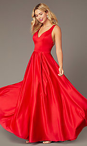 Image of red satin formal long dress by Dave and Johnny. Style: DJ-A8284 Detail Image 2