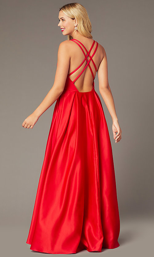 Image of red satin formal long dress by Dave and Johnny. Style: DJ-A8284 Back Image