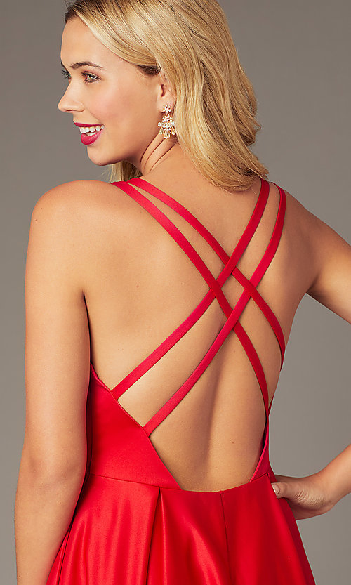 Image of red satin formal long dress by Dave and Johnny. Style: DJ-A8284 Detail Image 1