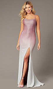 Image of long glitter formal dress in rose pink ombre. Style: DJ-A8358 Back Image