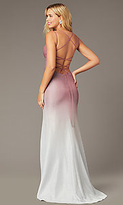 Image of long glitter formal dress in rose pink ombre. Style: DJ-A8358 Front Image