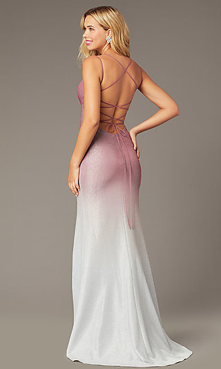 Long Glitter Formal Dress in Rose Pink Ombre