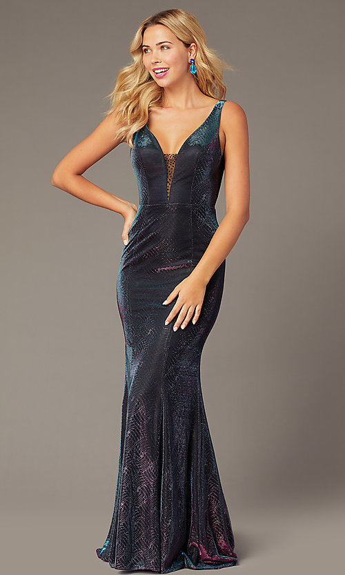 Image of v-neck long iridescent-knit formal dress. Style: DJ-A8376 Front Image