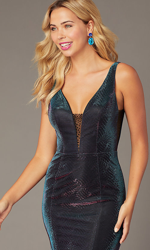 Image of v-neck long iridescent-knit formal dress. Style: DJ-A8376 Detail Image 1