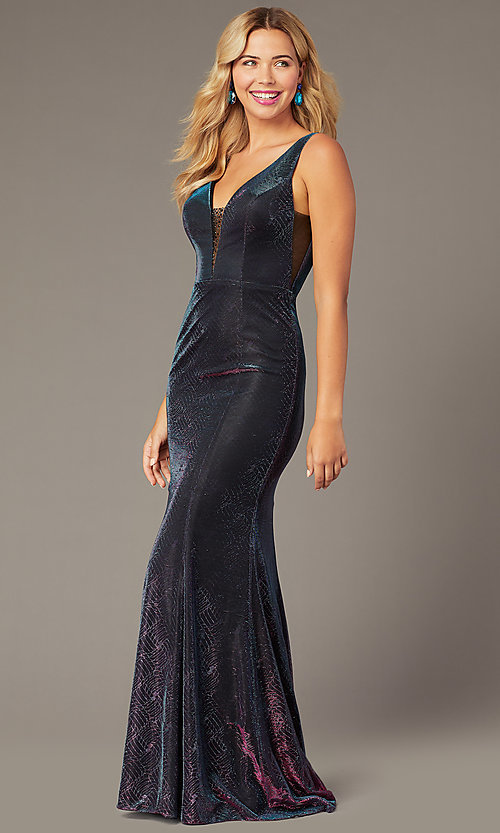 Image of v-neck long iridescent-knit formal dress. Style: DJ-A8376 Detail Image 2