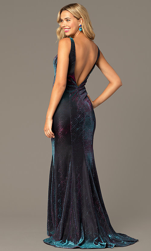 Image of v-neck long iridescent-knit formal dress. Style: DJ-A8376 Back Image