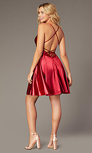Image of Dave and Johnny short satin homecoming dress. Style: DJ-A8395 Back Image